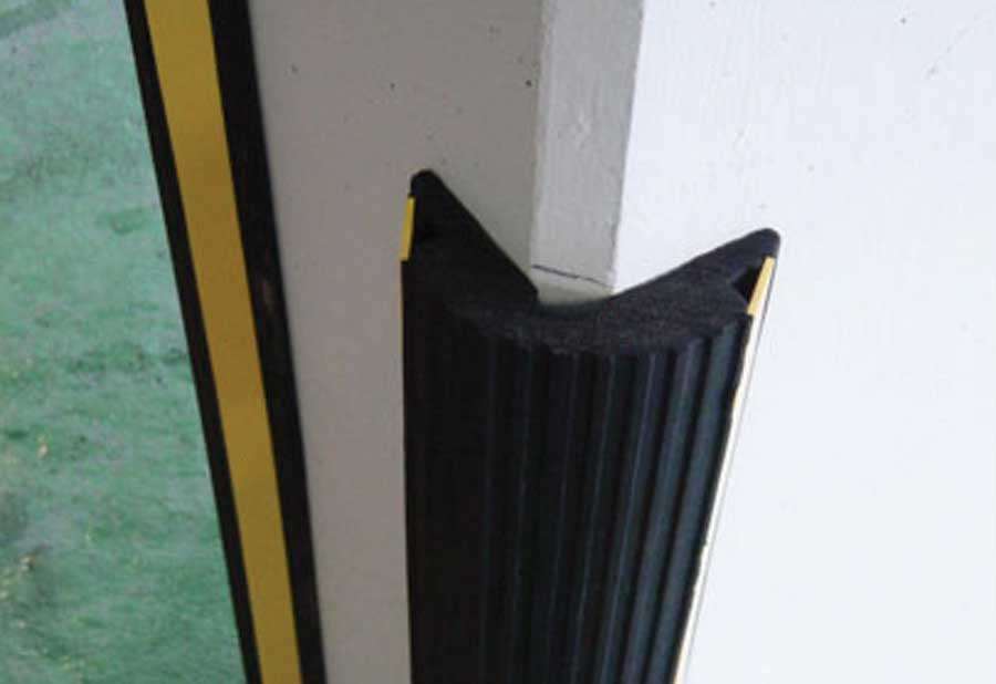 Extruded Rubber Edge Guards on column edges to protect cars from scratching.