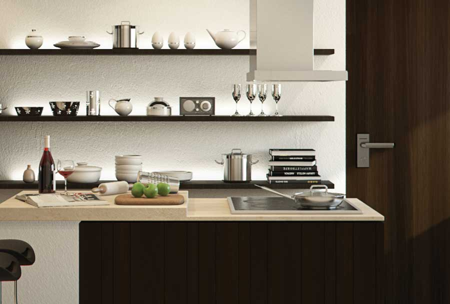 Siemens or Miele 90cm wide stainless steel Island Hood with electronic controls.